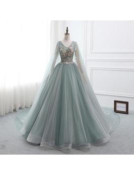 2019 Custom Prom Dress Ball Gown Long Quinceanera Dress V Neck Long Sleeve Party Dress Applique Pearl Wedding Bride Gown by Etsy