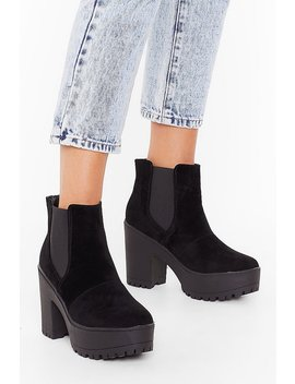 Immi Suede Cleated Heeled Chelsea Boots by Nasty Gal
