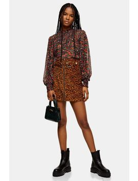 Tall Leopard Print Corduroy Buckle Skirt by Topshop