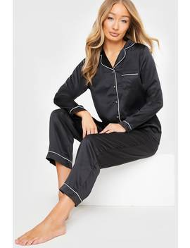 Black Satin Piping Long Sleeve Shirt And Trousers Pj Set by In The Style