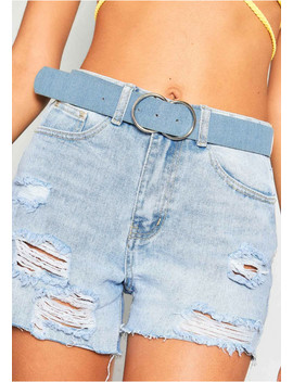 Sally Blue Denim Double Circle Buckle Belt by Missy Empire