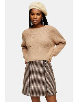 Camel Swirl Cropped Jumper by Topshop