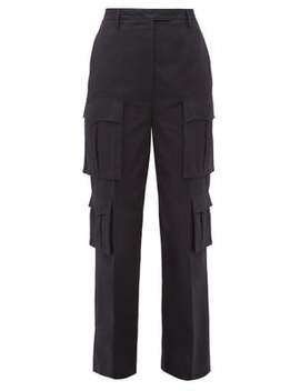 Tailored Cotton Poplin Cargo Trousers by Prada