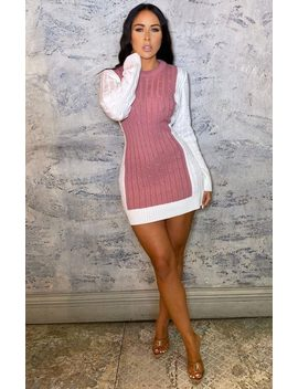 Cream & Dusky Pink Cable Knit Mini Jumper Dress   Meghan by Femme Luxe