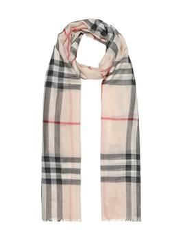 Check Wool And Silk Gauze Scarf by Burberry