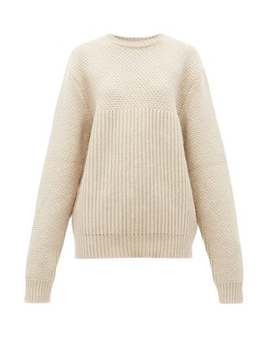 Contrast Panel Chunky Knit Wool Sweater by Raey