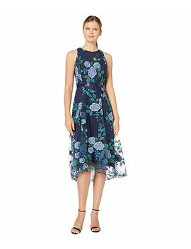 Embroidered Floral Mesh Dress W/ Ribbon Sash by Tahari By Asl