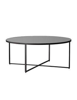 Houseology Collection Clarence Coffee Table Matt Black Metal Smoked Grey Glass by Houseology