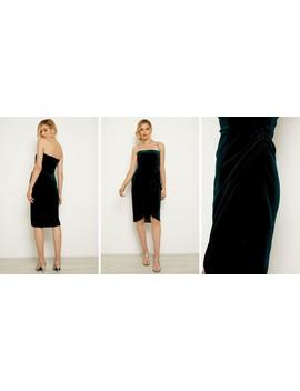 Dark Green Velvet Faux Wrap Bandeau Dress by Sosandar