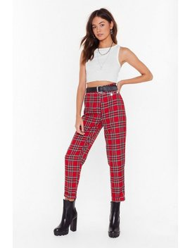 For The Check Of It Tartan Tapered Trousers by Nasty Gal