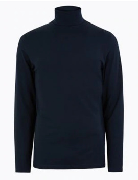Cotton Rich Roll Neck Top by Marks & Spencer
