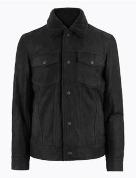 Leather Borg Lined Jacket by Marks & Spencer
