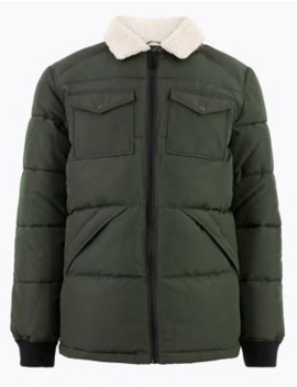 Borg Collar Puffer Jacket With Thermowarmth™ by Marks & Spencer