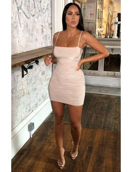 Stone Slinky Ruched Strappy Mini Dress   Yaretzi by Femme Luxe