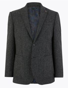 Pure Wool Textured Jacket by Marks & Spencer