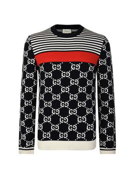 Jacquard Crew Knitted Jumper by Gucci