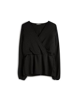 Black Pleated Cross Shirt by Primark