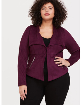 Burgundy Purple Faux Suede Jacket by Torrid