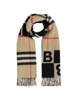 Check And B Motif Scarf by Burberry