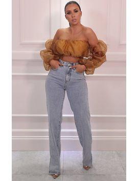 Blue Light Wash Straight Leg Side Split Ripped Jeans   Lynn by Femme Luxe
