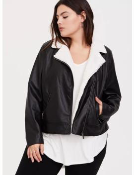 Black Faux Leather Sherpa Moto Jacket by Torrid