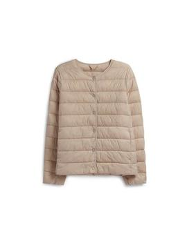 Cream Collarless Padded Coat by Primark