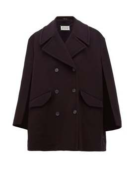 Double Breasted Virgin Wool Blend Cape Pea Coat by Maison Margiela