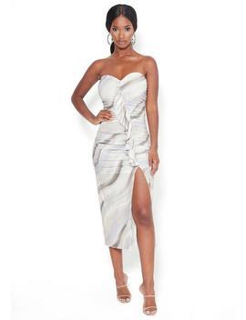 Print Strapless Midi Dress by Bebe