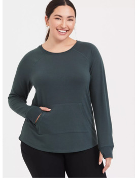 Green Raglan Active Sweatshirt by Torrid