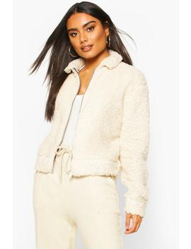 Teddy Faux Fur Zip Through Bomber Jacket by Boohoo