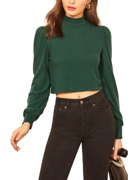 Kelly Puff Sleeve Crop Top by Reformation