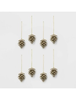 8ct Glitter Pine Cone Christmas Ornament Set Gold   Wondershop™ by Shop This Collection