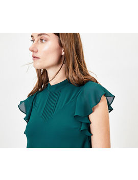 Pintuck Frill Sleeve Top by Oasis