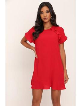 Red Ruffle Shift Dress by I Saw It First