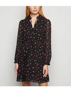 Black Chiffon Rose Print Tie Neck Dress by New Look