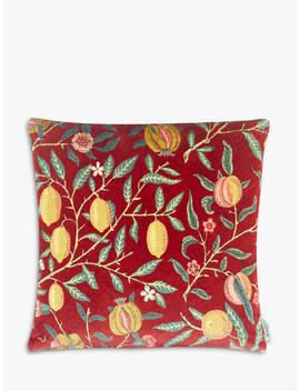 Morris & Co. Velvet Fruit Cushion, Madder / Bayleaf by Morris & Co.