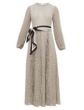 Sunray Pleated Polka Dot Chiffon Dress by Zimmermann
