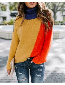 Quirky Colorblock Shimmer Turtleneck Sweater by Vici