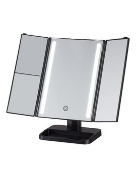 Onyx Professional Led Mirror With In Base Storage And Magnifying Mirror   Black by Onyx Brands
