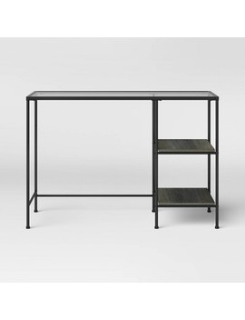 Fulham Glass Top Desk With Wood Shelves Black   Project 62™ by Shop Collections