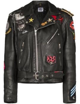 Patch Detail Biker Jacket by Rockins