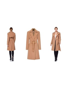 Camel Wool & Cashmere Wrap Coat With Belt by Anastasia Fashions