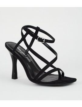 Black Suedette Strappy Slim Flared Heels by New Look