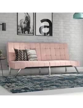 Dhp Emily Convertible Futon Sofa Couch, Pink Velvet by Dhp