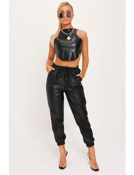 Black Faux Leather Elasticated Joggers by I Saw It First