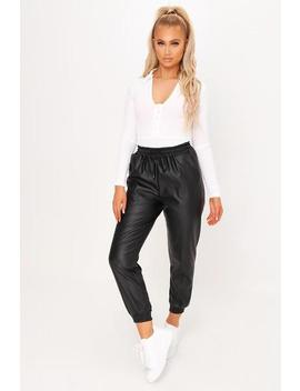 Black Faux Leather Joggers by I Saw It First