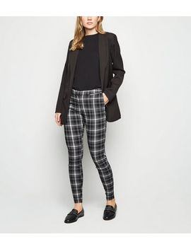 Black Check Zip Skinny Trousers by New Look