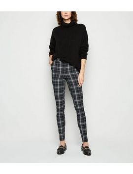 Tall Black Check Slim Stretch Trousers by New Look