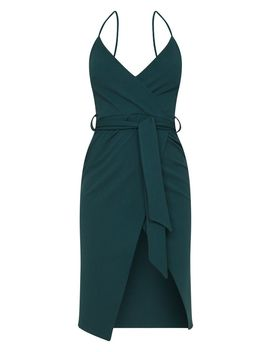 Emerald Green Strappy Wrap Tie Waist Midi Dress by Prettylittlething
