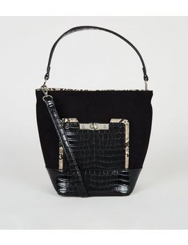Black Faux Croc Trim Bucket Bag by New Look
